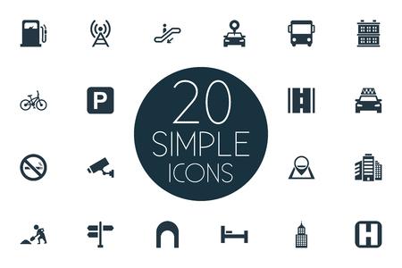 単純なインフラストラクチャのアイコンのベクトル イラスト セット。要素監督、タクシー、エスカレーターおよび他の類義語 Autobus 階段と製造。