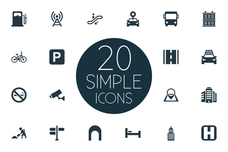 Vector Illustration Set Of Simple Infrastructure Icons. Elements Supervision, Cab, Escalator And Other Synonyms Autobus, Staircase And Manufacture.