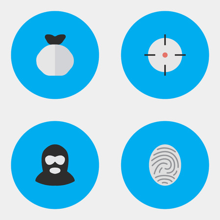 Vector Illustration Set Of Simple Crime Icons. Elements Moneybox, Bioskyner, Criminal And Other Synonyms Money, Target And Fingerprint.