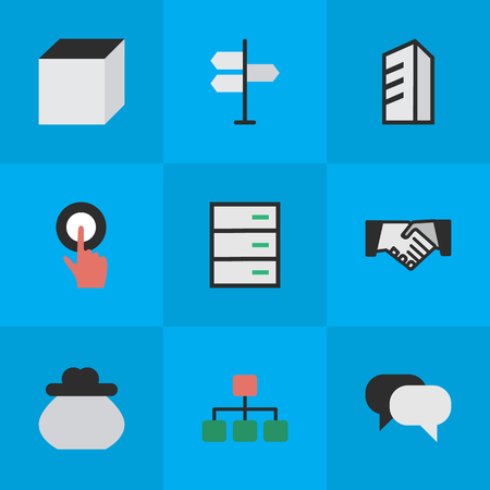 Vector Illustration Set Of Simple Trade Icons. Elements Talking, Square, Wallet And Other Synonyms Conversation, Hands And Construction.
