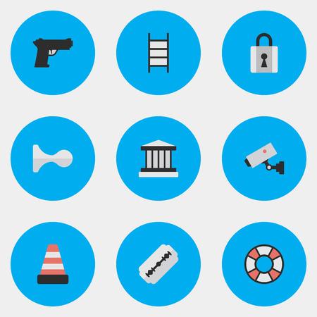 벡터 일러스트 레이 션 간단한 범죄 아이콘의 집합입니다. 요소 절연, 그릴, 감독 및 다른 동의어 카메라, 블레이드 및 면도기.