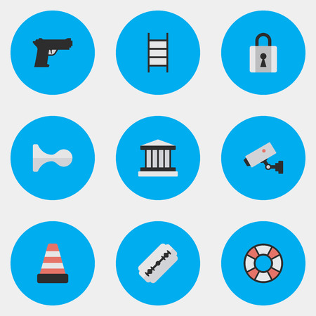Vector Illustration Set Of Simple Criminal Icons. Elements Isolated, Grille, Supervision And Other Synonyms Camera, Blade And Shaver. Illustration
