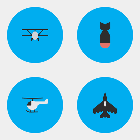 Vector Illustration Set Of Simple Aircraft Icons. Elements Airplane, Flying Vehicle, Copter And Other Synonyms Vehicle, Helicopter And Chopper.