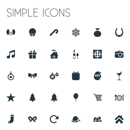 Vector Illustration Set Of Simple New Year Icons. Elements Striped Lollipop, Dinner, Lollipop And Other Synonyms Fun, Wreath And Arrow.