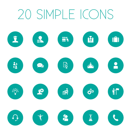 Vector Illustration Set Of Simple Human Icons. Elements Favorite, Suit, Award And Other Synonyms Student, Conversation And Talking. Illusztráció