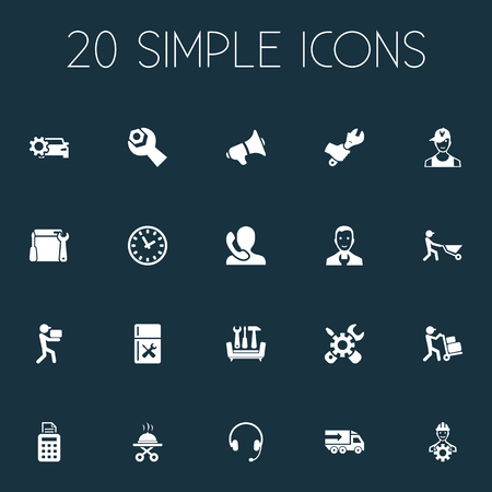 Vector Illustration Set Of Simple Information Icons. Elements Operator, Builder, Time And Other Synonyms Notice, Mechanic And Announcement.