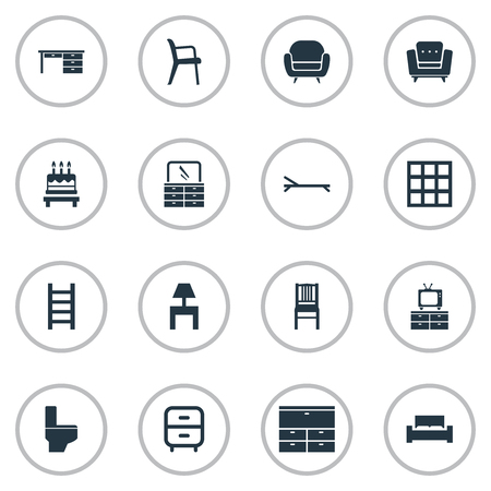 Vector Illustration Set Of Simple Furniture Icons. Elements Bathroom, Cabinet, Stairway And Other Synonyms Design, Beach And Chest. Illusztráció