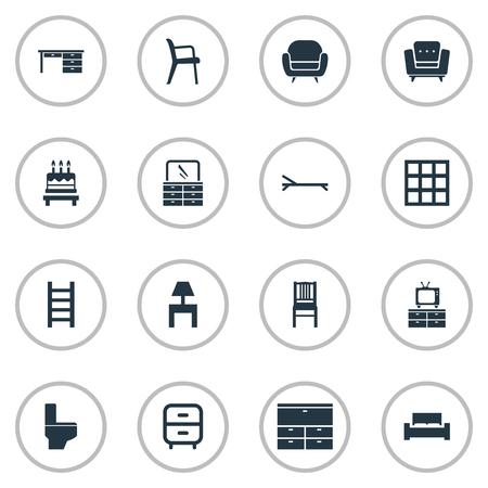 Vectorillustratiereeks Eenvoudige Meubilairpictogrammen. Elementenbadkamer, kabinet, trap en ander synoniemenontwerp, strand en borst. Stockfoto - 85165564