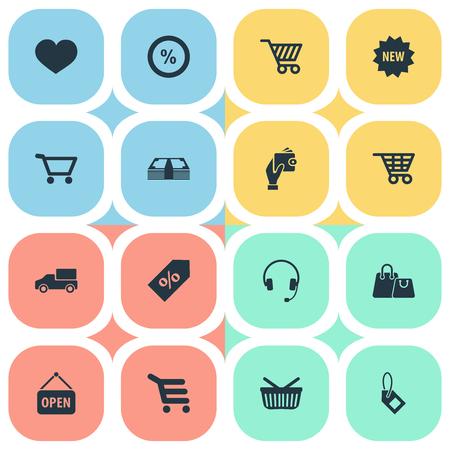 Vector illustratie Set van eenvoudige verkoop iconen. Elementen Sack, Label, Cash en andere synoniemen Sale, Heart And Care.