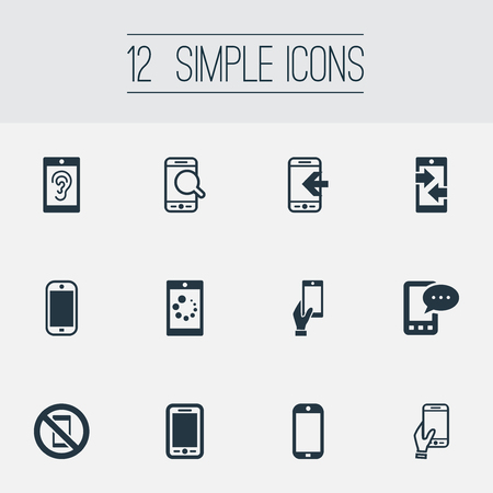 Vector Illustration Set Of Simple Smartphone Icons. Elements Hearing, Gadget, Inbounding And Other Synonyms Inbounding, Mobile And Incoming.