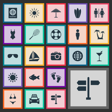 Vector Illustration Set Of Simple Beach Icons. Elements Seafood, Certificate, Bikini And Other Synonyms People, Lifebuoy And Sun.