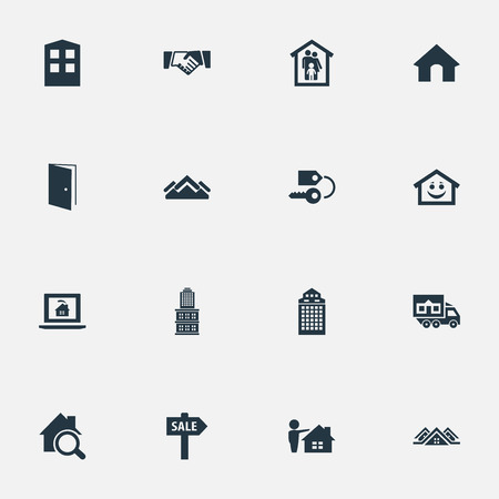 Vector Illustration Set Of Simple Property Icons. Elements Partnership, Skyscraper, Delivery And Other Synonyms Open, Estate And Safety.