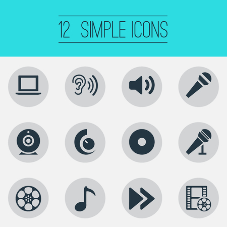 Vector Illustration Set Of Simple Music Icons. Elements Rewind, Volume, Notebook And Other Synonyms Ear, Cinema And Film.