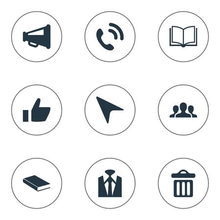 Ilustración vectorial Conjunto de iconos de conferencia simple. Elementos de lata de basura, libro abierto, línea directa y otra literatura de sinónimos, altavoz y megáfono. Foto de archivo - 85165632