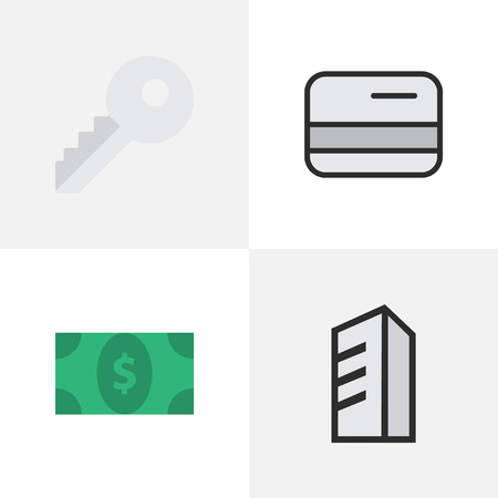 Vector Illustration Set Of Simple Business Icons. Elements Greenback, Pay, Apartment And Other Synonyms Open, Pay And Key.