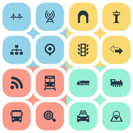 Vector Illustration Set Of Simple City Icons. Elements Map Pin, Air Traffic Safety, City Bus And Other Synonyms Control, Cab And Wifi. Иллюстрация