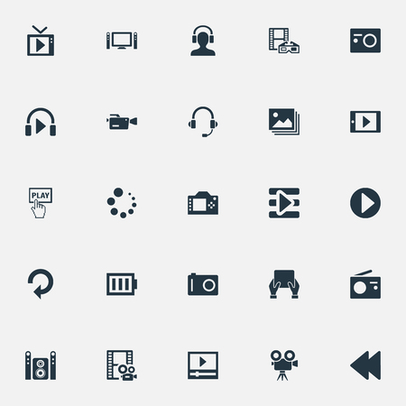 Vector Illustration Set Of Simple  Icons. Elements Begin, Television, Smartphone And Other Synonyms Movies, Playlist And Player. Illustration