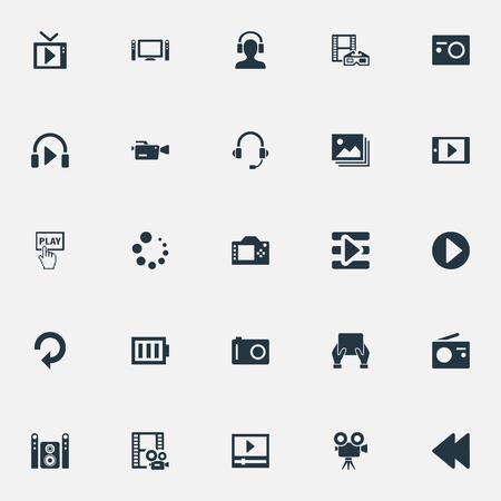 Vector illustratie Set van eenvoudige pictogrammen. Elements Begin, Televisie, Smartphone en andere synoniemenfilms, afspeellijst en speler.