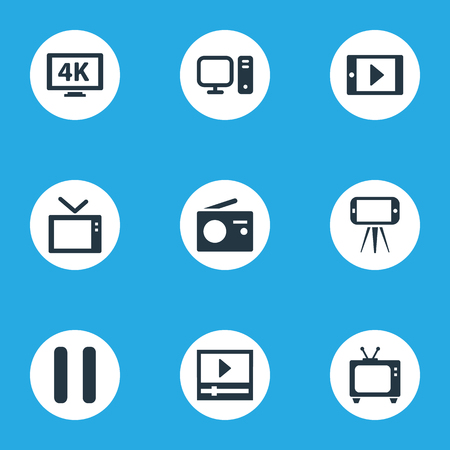 Vector Illustration Set Of Simple Media Icons. Elements Broadcast, Cellphone, Telly And Other Synonyms 4K, PC And Cellphone.