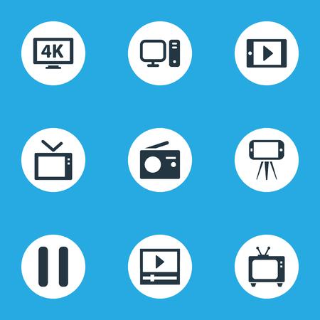 Vector illustratie Set van eenvoudige media iconen. Elementen uitzenden, mobiel, telly en andere synoniemen 4K, pc en mobiel.