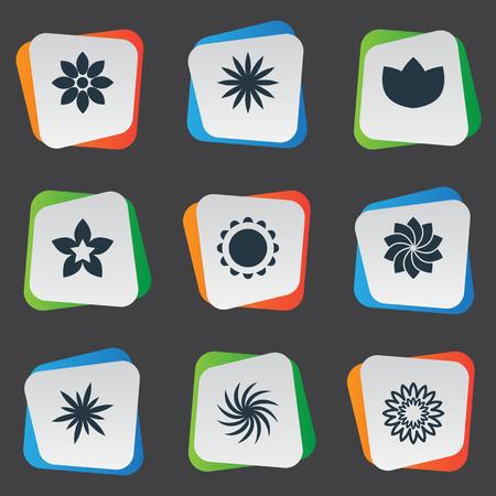 벡터 일러스트 레이 션 간단한 아이콘의 집합입니다. 요소 달리아, Larkspur, 꽃이 만발한 및 다른 동의어 Larkspur, Delphinium 및 달리아입니다. 일러스트