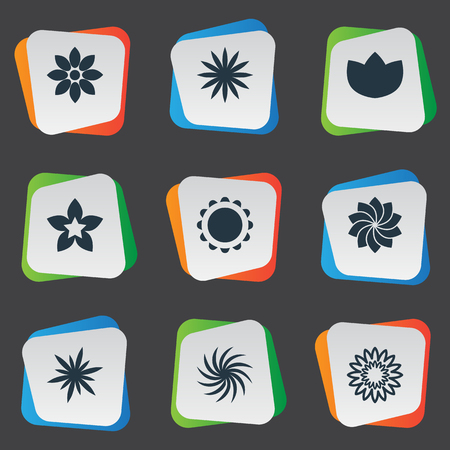Vector Illustration Set Of Simple  Icons. Elements Dahlia, Larkspur, Blossoming And Other Synonyms Larkspur, Delphinium And Dahlia.