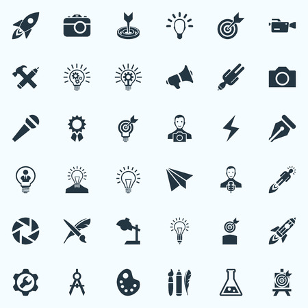 Vector Illustration Set Of Simple Creative Thinking Icons. Elements Intellect, Project Aim, Table Light And Other Synonyms Desk, Innovation And Brush.