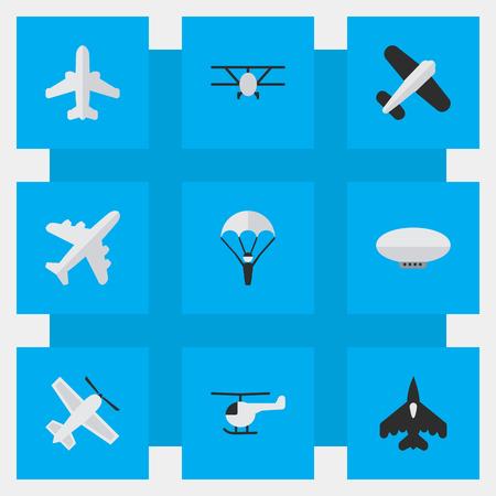 簡単な飛行機アイコンのベクター イラスト セット。要素風船、カタパルト、航空機や他の類義語の風船、飛行船やヘリコプター。  イラスト・ベクター素材