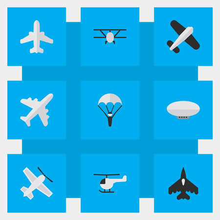 Vector Illustration Set Of Simple Airplane Icons. Elements Balloons, Catapults, Aircraft And Other Synonyms Balloons, Airship And Helicopter.
