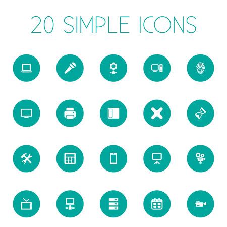 Ilustración vectorial Conjunto de iconos de gadget simple. Elementos Karaoke, pantalla, hardware y otros sinónimos de televisión, monitor y móvil.