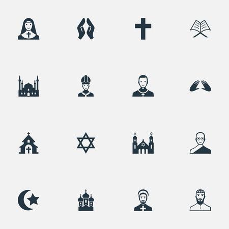 Ilustración vectorial Conjunto de iconos de religión simple. Elementos Capilla, Sacerdotisa, Clero judío y otros sinónimos Pontífice, rezando y musulmán. Foto de archivo - 85165712