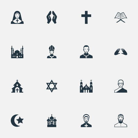 Vectorillustratiereeks Eenvoudige Godsdienstpictogrammen. Elementen kapel, priesteres, joodse geestelijkheid en andere synoniemen paus, bidden en moslim.