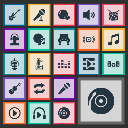 Vector Illustration Set Of Simple Melody Icons. Elements Turntable, Shellac, Start And Other Synonyms Tablet, Karaoke And Guitar.