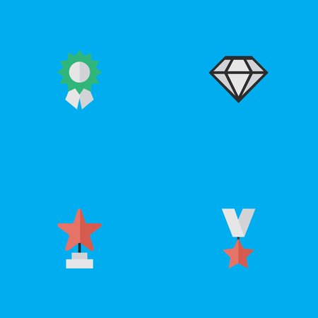 Vector Illustration Set Of Simple Awards Icons. Elements Star, Reward, Trophy And Other Synonyms First, Precious And Trophy.