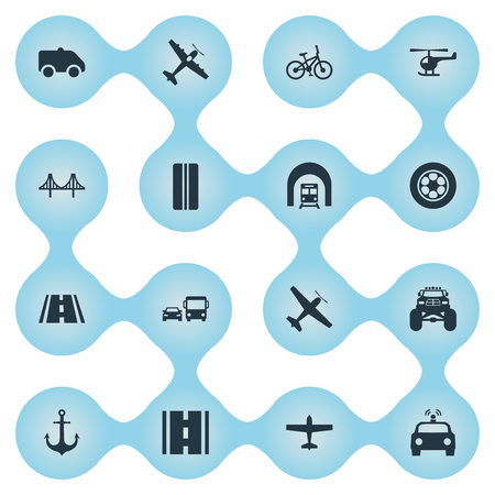 Vector Illustration Set Of Simple Transport Icons. Elements Sailing, Truck, Bike And Other Synonyms Aicraft, Workshop And Station. Ilustração