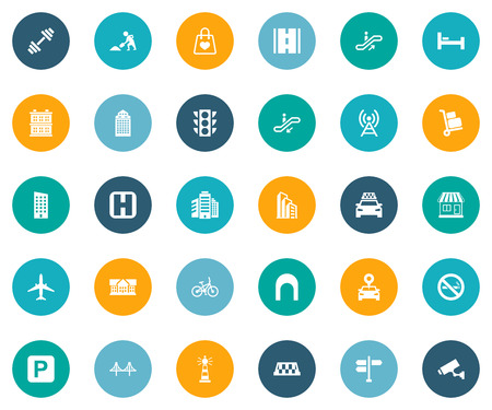 Vector Illustration Set Of Simple Urban Icons. Elements Location, Polyclinic, Forbidden And Other Synonyms Road, Stoplight And Home.