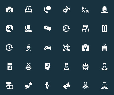 Vector Illustration Set Of Simple Service Icons. Elements Helmet, Telephone Setting, Industry And Other Synonyms Stairway, Factory And Dialog.
