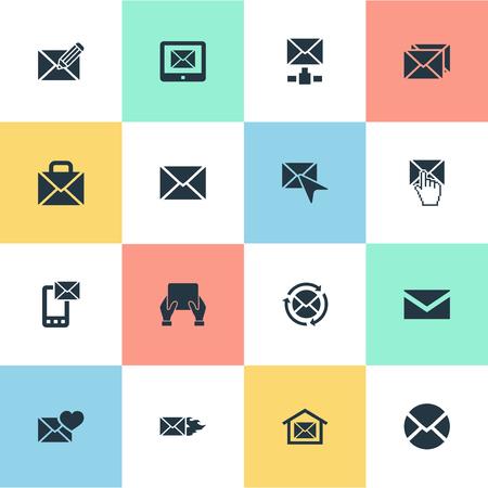 単純なメッセージ アイコンのベクター イラスト セット。要素の対応、書き込み、通知、他の同義語選ぶ、郵便ボックスとシンボル。