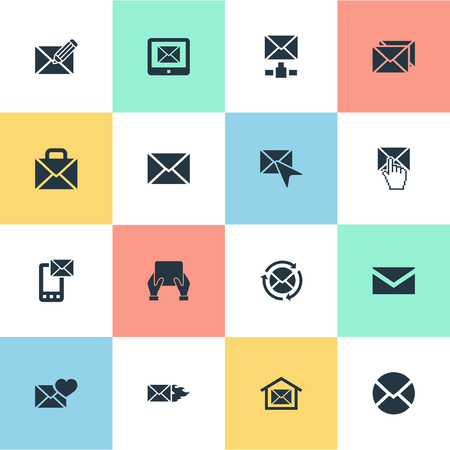 Vector Illustration Set Of Simple Message Icons. Elements Correspondence, Burn, Notice And Other Synonyms Pick, Postal Box And Symbol. Ilustrace
