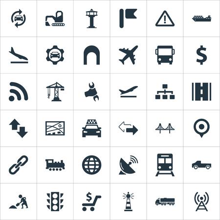 単純な交通機関アイコンのベクター イラスト セット。要素開発計画、道路、都市計画、他の同義語タクシー、トロリーおよび飛行。