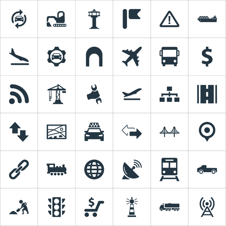 Vector Illustration Set Of Simple Transportation Icons. Elements Development Scheme, Road, City Plan And Other Synonyms Cab, Trolley And Flight.