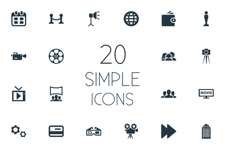 Vector Illustration Set Of Simple Movie Icons. Elements Rope Barrier, Member Access, Recording And Other Synonyms Audience, Cogwheel And Tv.