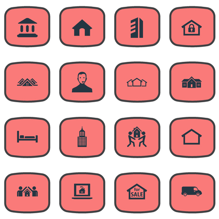 Vector Illustration Set Of Simple Property Icons. Elements Midtown, Close, Operator And Other Synonyms Hostel, Museum And Shipping.