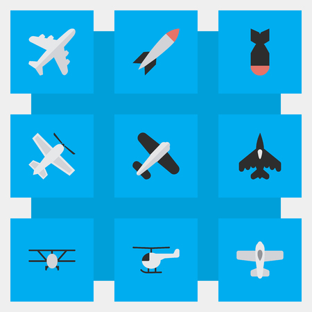 Vector Illustration Set Of Simple Aircraft Icons. Elements Plane, Rocket, Aviation And Other Synonyms Aircraft, Plane And Bomb.