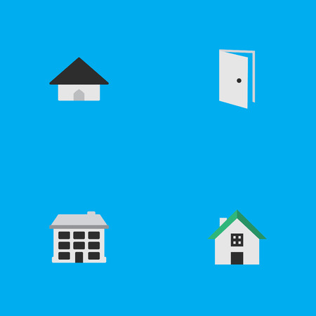 Vector Illustration Set Of Simple Property Icons. Elements Home, Entry, Structure And Other Synonyms Home, Open And House. Illustration