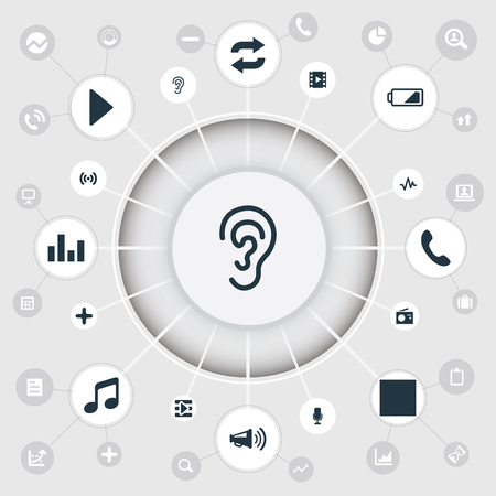 Vector Illustration Set Of Simple Music Icons. Elements Ear, Musical Symbol, Multimedia Buttons And Other Synonyms Reload, Stage And Plus.