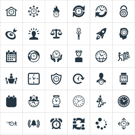 Vector Illustration Set Of Simple Management Icons. Elements Hurry, Manager, Chronometer And Other Synonyms Trolley, Ladder And Waiting.