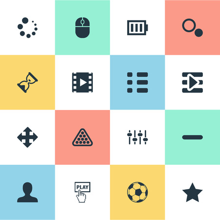 Vector Illustration Set Of Simple Game Icons. Elements Balls, Device, Hourglass And Other Synonyms Ball, Asterisk And Low. Illustration