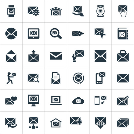 Vector Illustration Set Of Simple Mailing Icons. Elements Post Office, Mailman, Ingoing And Other Synonyms Compose, Web And Mail. Çizim