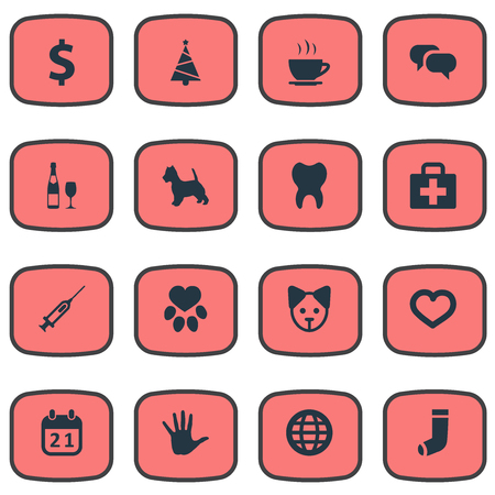 Vector Illustration Set Of Simple Brood Icons. Elements Love, Hosiery, Case And Other Synonyms Holiday, Volunteer And Cure. Illustration